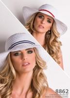 2278 - Chapéu aba larga branco com fita extra