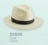 7244 - CHAPÉU CASUAL SHANTUNG MARFIM C/ FAIXA MARINHO